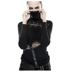 Damen Shirt mit hohem Stehkragen sweatshirt Rollkragen...
