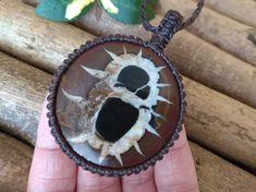 Big Septarian necklace, Dragon Stone Pendant, Natural stone necklace, Macrame necklace, pendant with Septarian, Macrame Jewelry,