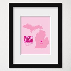 Modern Wedding Map Art / Bachelorette Gift Decor / Wedding Present / Engagement Gift / Couples Marriage Decor / Any State/Colors
