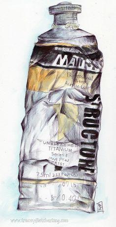 Pen and ink artwork of paint tube in my zeta sketchbook from Tracey Fletcher King Painting Illustrations, Online Art Classes, Sketch Journal, Paint Tubes, Art Clipart, Art Pages, Photo Illustration, Kurti, Original Artwork