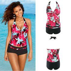 US Women's Tankini Leaf Print Bikini Set Short Swimwear Push Up Padded Swimsuit #Unbranded #OnePiece