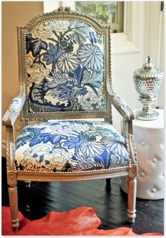 Rhein re invented vintage chair with new paint, Schumacher Chiang Mai Dragon Fabric, silver nail heads. Blue White Decor, Decor, Interior Design, Upholstered Chairs, Upholstered Furniture, Furniture, Schumacher Chiang Mai Dragon, Interior, White Decor