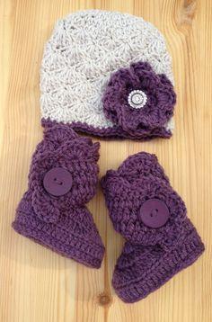 urban baby hat and boots in linenamethyst purple by studiocbye