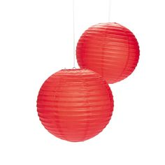 "Red Paper Lanterns - OrientalTrading.com $10 for 2 lanterns that are each 12"" in diameter."