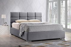 Baxton Studio Sophie Modern & Contemporary Fabric Upholstered Platform Bed, King, Grey
