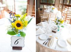 Mike+Alyssa - Cape May Southern Mansion Wedding - Sunflower Centerpieces photo