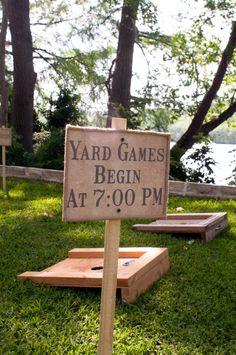 Wedding yard games signage