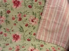Laura Ashley Pillow Shams (2) -Emily Green and Pink Floral Standard -EUC #LauraAshley