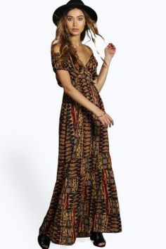 Candy Woven Gypsy Tiered Maxi Dress at boohoo.com