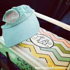 Monogrammed Hat + a Monogram Cooler = Beachin'