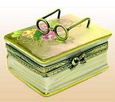 Brown Floral Book with Glasses Limoges box