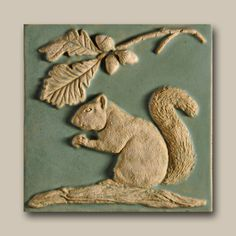 Carved tile by Weaver Studios in Michigan, One of my favorite tile artists! Clay Projects, Clay Crafts, Arts And Crafts, Paper Clay, Clay Art, Acorn And Oak, Clay Tiles, Art Tiles, Mighty Oaks