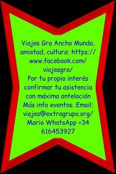 ~~ Viajes:  ~ Rute (12 diciembre, 13 €)  ~ Sevilla (19 diciembre, 13 €)  ~ Noche Vieja TORREMOLINOS, 30 Dic a 2 enero,  M C Tomás  ~ Noche Vieja Benalmádena ñ, 30 Dic a 3 enero,  Viajes Plaza del Angel   + https://www.facebook.com/viajesgra   Por tu propio interés confirmar tu asistencia  Saber de estos y otros eventos  Email info@extragrupo.org   Mario WhatsApp +34 616453927  b9