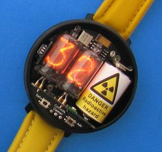 The Woz has a Nixie watch just like this! The Woz has a Nixie watch just like this! Unusual Watches, Amazing Watches, Cool Watches, Man Watches, Mens Designer Watches, Luxury Watches For Men, Nixie Tube, Gadgets, Skeleton Watches