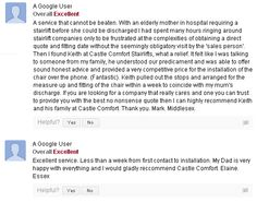 Google Map Reviews of Castle Comfort Stairlifts