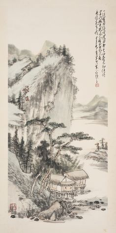 FENG KANGHOU (1901-1983) LANDSCAPE, 1984 ink and color on paper, hanging scroll and with one seal of the artist, annotation by Zhao Shao'ang, dated to the jiazi year (1984) and with one seal of the artist 91.3 x 42.5 cm, 35 7/8  by 16 3/4  in.  馮康侯(1901-1983)《山水》 設色紙本 立軸 1984年作 題跋:一溪盤曲到階除,四面青山畫不如。修竹罩門梅夾路,詩人居處野人居。康侯先生大作,甲子春三月少昂以宋人句題之。鈐印:「少昂」 鈐印:「康侯」 91.3 x 42.5 公分,35 7/8 x 16 3/4 英寸