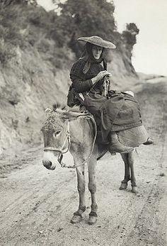 Ajaccio, Corsica, France: Peasant of Ajaccio, Corsica. The woman, seated on donkey, is knitting.
