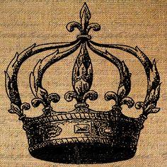 coronita arpillera Digital Collage Sheet Download Burlap Fabric Transfer FLEUR de LIS Crown Royal Iron On Pillows Tote Tea Towels No. 2827