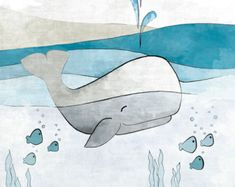 Whale Nursery Art Print Navy Nautical Wall by LowerWoodlandStudio Nautical Wall Decor, Nautical Art, Nautical Nursery, Whale Nursery, Nursery Art, Nursery Decor, Pictures To Draw, Watercolor, Etsy