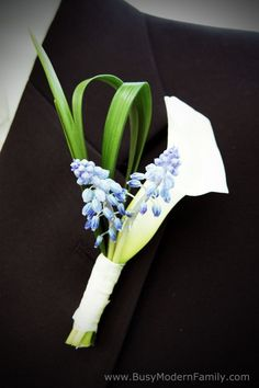 Something Blue Boutonniere Boutonnieres, Blue Boutonniere, Bridesmaid Flowers, Flower Bouquet Wedding, Bridesmaids, Spring Wedding, Dream Wedding, Modern Wedding Flowers, Wedding Designs