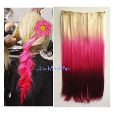 White Blonde to Hot Pink Three Colors Ombre Hair Extension Synthetic... ($11) ❤ liked on Polyvore featuring beauty products, haircare, hair styling tools, bath & beauty, grey, hair care and hair extensions