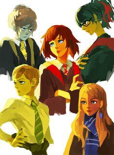 Life Is Strange and Hogwarts crossover: Max (Gryffindor), Brooke (Gryffindor), Kate (Hufflepuff), Rachel (Ravenclaw) and Victoria (Slytherin)