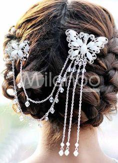 White Rhinestone Butterfly Tassel Silver Plating Wedding Hair Pin - Milanoo.com