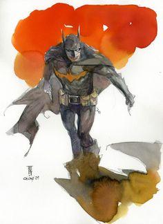 Batman (Watercolor comic book painting) | By: Alex Maleev, via Cuded (#batman)
