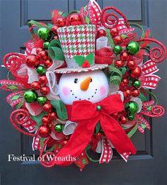 Christmas Wreath Deco Mesh Wreath Christmas by FestivalofWreaths