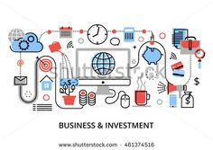 Modern flat thin line design vector illustration, infographic concept of investment process, stock market and internet business, for graphic and web design