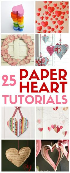 A collection of 25 paper heart projects for valentines day, weddings, or just because. A handmade heart is an easy DIY craft tutorial idea. | party decor