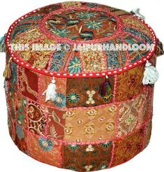 Ottoman Pouf Indian Bohemian Large Floor Vintage Pouf Stool Art Blue Color We Have Won Praise From Customers Furniture Home & Garden