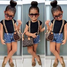 Adorable Kids: toddler in blue jean shorts and leopard suspenders