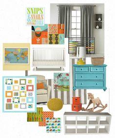 Jonah's Nursery Olioboard.  Caps for Sale nursery.  Orange, blue, goldenrod yellow, green and gray baby boy nursery.