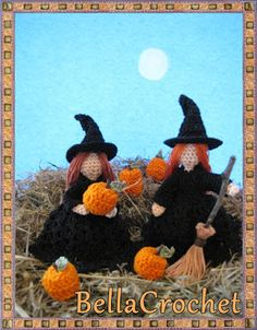 BellaCrochet: The Littlest Witches: A Free Crochet Pattern For You ~ finished size tall incl. hat ~ FREE - CROCHET - such cuties! Crochet Fall, Love Crochet, Thread Crochet, Crochet Crafts, Yarn Crafts, Crochet Toys, Crochet Projects, Crochet Pumpkin Pattern, Halloween Crochet Patterns