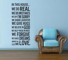 Vinyl Wall Decal Wall Sticker Words  - House Rules Quote - In this house we do - 29. $48.00, via Etsy.