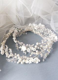 20170520_Pearl Wedding Hair Vine, Pearl Bridal Headpiece, Wedding hair piece, Wedding headpiece, Bridal Wreath, Flower Bridal Headpiece130851-01