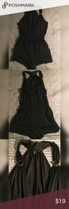 Guess satin romper This romper is in excellent condition. No flaws. This item is super short. V neck plunge. Lining.super stretchy Guess Dresses