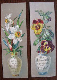 2 x Victorian Embossed Greetings Cards - Flowers in Vases in | eBay
