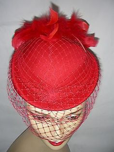 #Vintage 70s 80s red net #feather trim pill box hat 55cm,  View more on the LINK: 	http://www.zeppy.io/product/gb/2/252311342586/