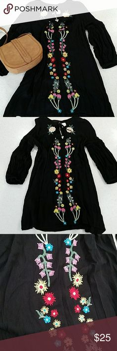 Embroidered Black Tunic Dress Lovely black long sleeve dress with multi colored floral embroidery details. 100% Rayon IJOAH Dresses
