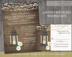 Fall or Summer Wedding Invitations Rustic Lantern Country Wedding Invitations with White Roses wood grain background- DIY printable- by NotedOccasions, $50.00