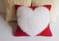 Custom Valentine Knit Pillow Cover Heart Knit by Adorablewares
