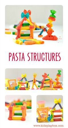 RAINBOW Pasta Structures - fun fine motor and engineering activity for kids using pasta and play dough!