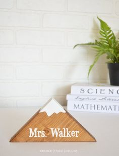 Teacher Gift Personalized Desk Name Plate Office Sign Boss Plaques Wooden Mountain