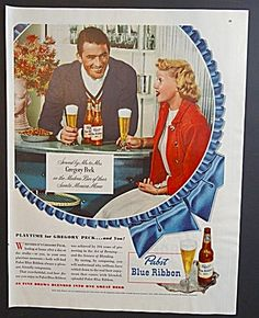 Pabst Blue Ribbon Ad - Gregory Peck & Wife Greta Kukkonen - 1948