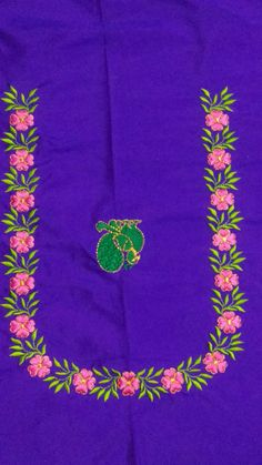 Saree Embroidery Design, Embroidery Neck Designs, Embroidery Works, Floral Embroidery, Hand Embroidery, Black Blouse Designs, Best Blouse Designs, Blouse Neck Designs, Computer Works