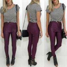Calça disco pants vinho  T-shirt listrada!  Compre pelo site http://ift.tt/PYA077