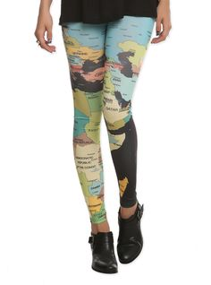 Map Leggings | Hot Topic If I travel the world whenever the next time that is in wearing these to the airport!!!!