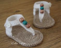 Crochet baby sandals baby gladiator sandals baby booties baby shoes White and tan with wooden beads READY TO SHIP size months Crochet Baby Sandals, Baby Girl Crochet, Crochet Baby Booties, Crochet Slippers, Love Crochet, Crochet For Kids, Baby Blanket Crochet, Diy Crochet, Crochet Crafts